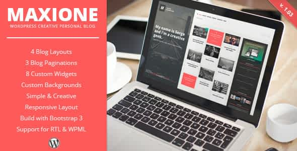 MaxiOne - Creative Personal Blog WordPress Theme Nulled