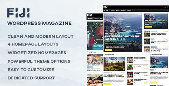 Fiji - WordPress Magazine and Blog Theme Nulled