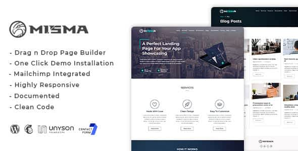 Misma - Mobile App WordPress Theme with Blog Nulled