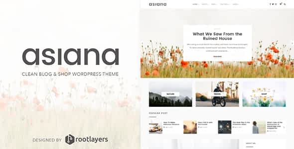 Asiana - Clean Blog & Shop WordPress Theme Nulled