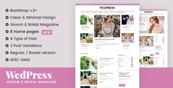 WedPress - Wedding Blog WordPress Theme Nulled