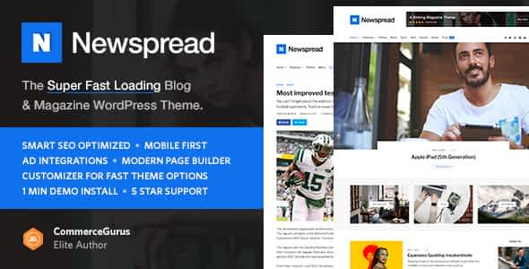 Newspread - Magazine, Blog, Newspaper and Review WordPress T... Nulled