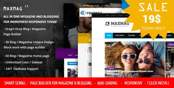 Maxmag - Magazine and Blogging WordPress Theme Nulled