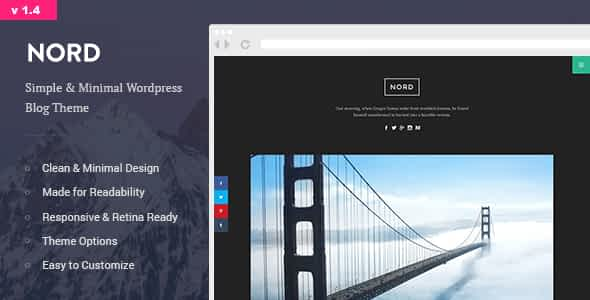 Nord - Minimal and Clean WordPress Personal Blog Theme Nulled