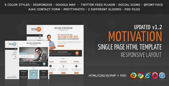Motivation - Responsive Single Page HTML Template Nulled