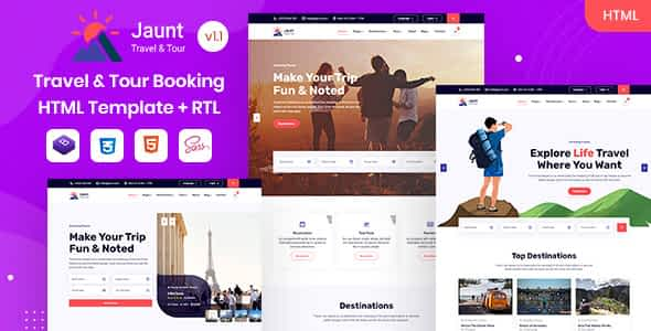 Jaunt - Travel & Tour Booking HTML Template Nulled