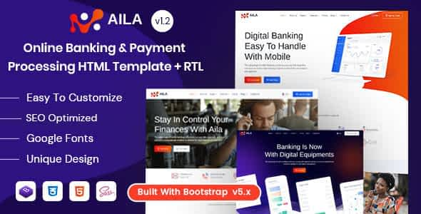 Aila - Online Banking & Payment HTML Template Nulled