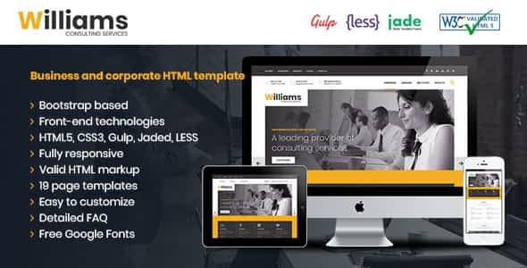 Williams Business HTML Template Nulled