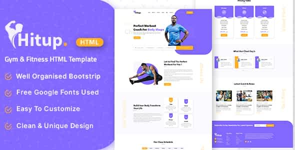 Hitup - Fitness and Gym HTML Template Nulled
