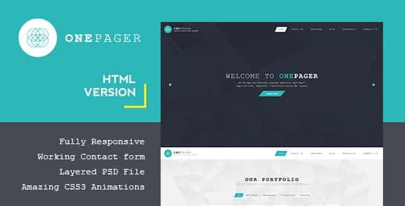 Onepager - Responsive One Page HTML Template Nulled