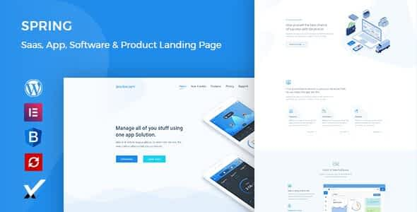 Spring – Software and App Landing WordPress Theme Nulled