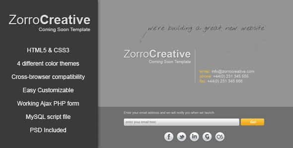 Zorro - Coming Soon Template Nulled