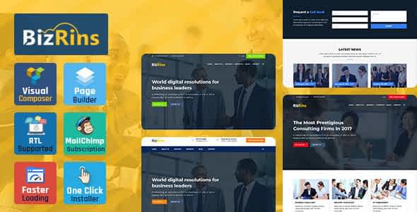 BizRins - Consultant Business WordPress Theme Nulled