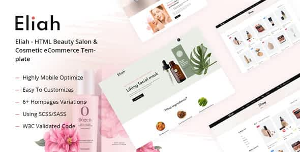 Eliah - HTML Beauty Salon & Cosmetic eCommerce Template Nulled