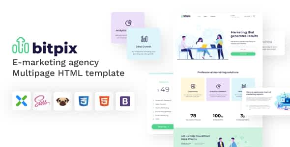 Bitpix - HTML5 E-marketing Agency Template Nulled