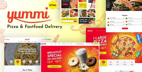 Yummi - Fast Food Delivery Restaurant HTML Template Nulled