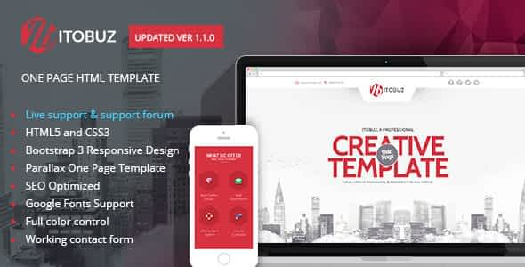 Itobuz One Page HTML Template Nulled
