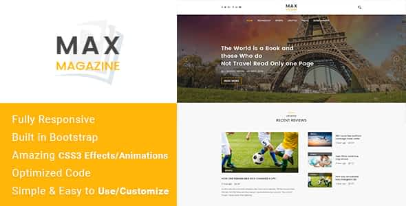 Max Magazine - News & Blog HTML Template Nulled