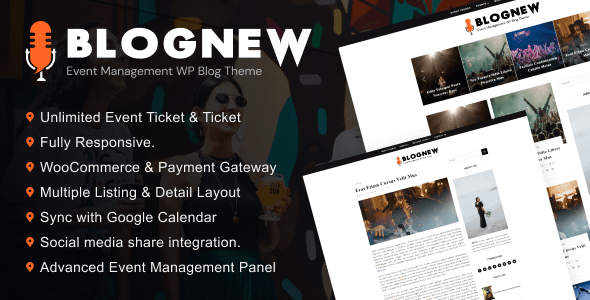 Blognew – Event Management WordPress Blog Theme Nulled