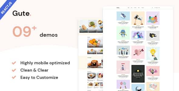 Gute - React Next Minimalist Blog Template Nulled