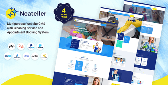 Neateller - Multipurpose Website CMS with Cleaning Service a... Nulled