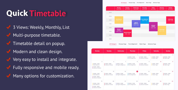 Quick Timetable For PHP Nulled