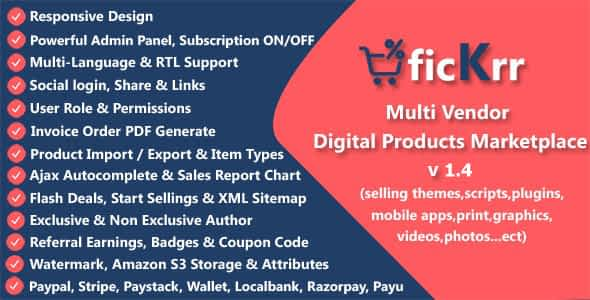 ficKrr - Multi Vendor Digital Products Marketplace with Subs... Nulled