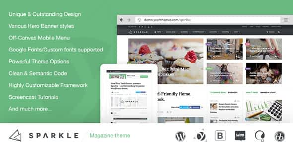 Sparkle - Outstanding Magazine theme for WordPress Nulled