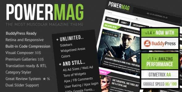 PowerMag: Bold Magazine and Reviews WordPress Theme Nulled