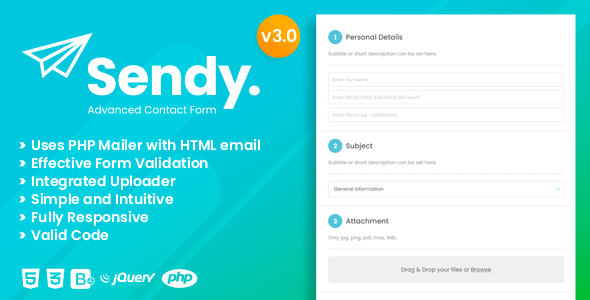 Sendy | Advanced Contact Form with File Uploader Nulled