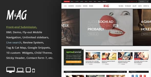 MAG=Grid Magazine / News WordPress Theme / Front-end Submi... Nulled