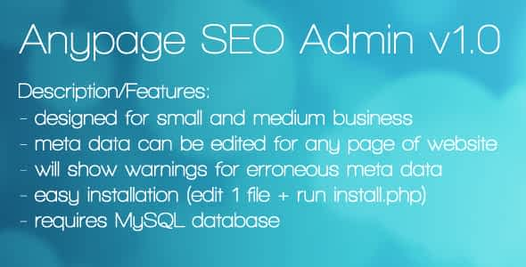 Anypage SEO Admin Nulled