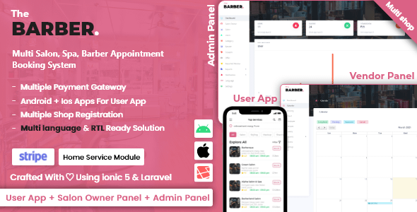 Multi Salon, Spa, Barber Appointment Booking System | Adminp... Nulled